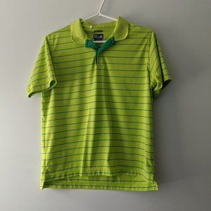 Adidas Striped Climacool Polo Tee Green Size Large